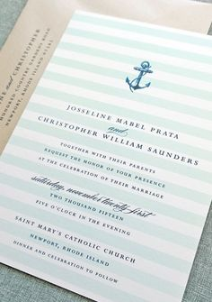 Nautical inspired wedding invitation - loving the mint stripes and the navy blue accents!