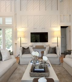 2 Story Living Room, diagonal wainscot | Southern Living