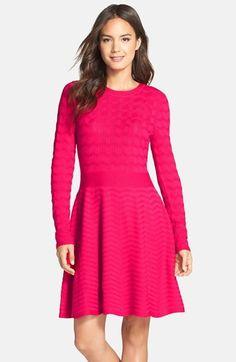 Eliza J Chevron Fit & Flare Sweater Dress $53.09