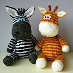GERRY GIRAFFE AND ZIGGY ZEBRA TOY KNITTING PATTERNS Gerry and Ziggy are the best of friends, and are looking for a new home. If you would like to adopt them, you can knit your own giraffe and zebra pals with this knitting pattern. THE PATTERN INCLUDES: Row numbers for each step so you don't lose your place, instructions for making the zebra and giraffe, plus 19 photos, a list of abbreviations and explanation of some techniques, a materials list and recommended yarns. The pattern is 12 pa...