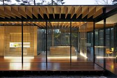 Kengo Kuma glass wood house jewel by night