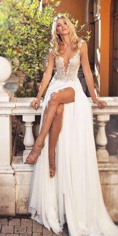 Straight v neck spaghetti straps with high slit beach wedding dress.  #wedding dress  #beach wedding  #dress