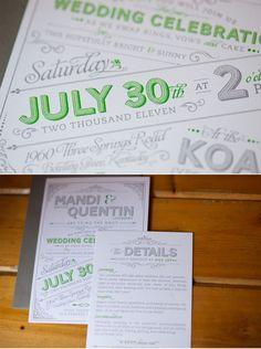 Green and grey wedding invitations