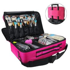 MLMSY Makeup Train Case 3 Layer Cosmetic Organizer Beauty Artist Storage Brush Box with Shoulder Strap, Red 16 inch ** Additional details found at the image link : Travel cosmetic bag Makeup Train Case, Makeup Box, Makeup Tools, Beauty Makeup, Makeup Brushes, Eye Makeup, Makeup Guide, Pink Makeup, Sephora Makeup