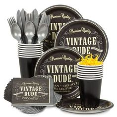 Vintage Dude Birthday Party Standard Tableware Kit Serves 8