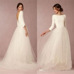 Cheap Stunning Winter Wedding Dresses A Line Satin Top Backless 2016 Bridal Gowns With Sleeves Simple Design Soft Tulle Skirt Sweep Train Bridal Dress Designers Bridal Gowns Uk From Forever_love_u, $120.21| Dhgate.Com