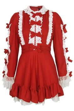Meadham Kirchhoff for Topshop - red crepe dress with bow detail. http://thegliterati.net/2013/11/21/make-mine-meadham/