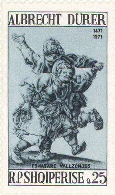 "Albania - 1971 - ""Couple of dancing Peasants"", painting by Albrecht Durer"