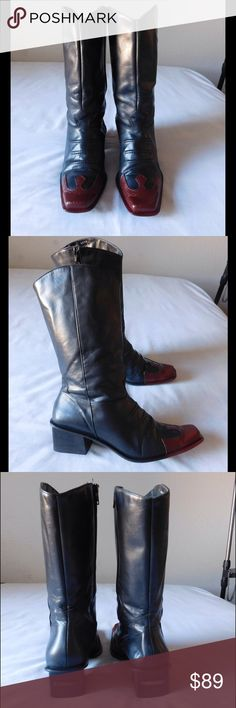 Leather! Majestic Black/Red Harley-Davidson Boots Vintage. These pair of of Moto boots are simply spectacular and unique. Hard to find. Soft and comfy material. Gorgeous colors and exclusive design. Size 8M - Vintage condition. Save $$$ on bundles. Harley-Davidson Shoes Combat & Moto Boots