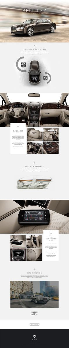 Bentley. Modern and prestigious feel design. #car #automotive #webdesign