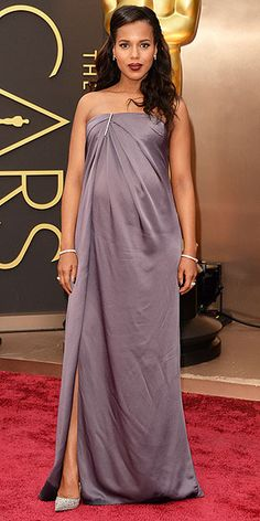 The Best Dressed List | KERRY WASHINGTON | Eight in 10 People.com watchers agree: Kerry looks beautiful in her dusty-lavender strapless gown with a touch of bling at the neckline, pleating that showcases her bump and a subtle slit.