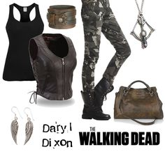 The Walking Dead: Daryl Dixon outfit. Post-apocalyptic, zombie apocalypse outfit.   Black tank top, leather vest, camo pants, crossbow necklace, wing earrings, brown leather wrist band and handbag.