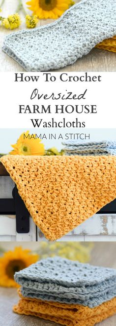 Farm House Washcloth Crochet Pattern via @MamaInAStitch This is a free pattern for an easy crocheted washcloth! Perfect dishcloths for the kitchen or home use! #crafts #diy: