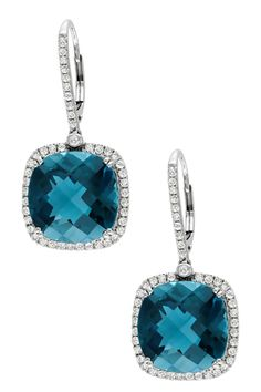 14K White Gold Diamond Halo London Blue Topaz Drop Earrings - 0.88 ctw