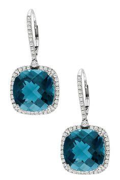 14K White Gold Diamond Halo London Blue Topaz Drop Earrings - 0.88 ctw