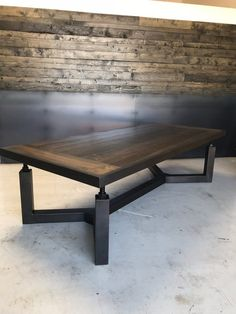 The Hemlock Table features a solid wood poplar top that is incased in a steel frame. The base is darkened steel with with offset legs attaching the thick top with heavy threaded rod and recessed nuts. This table has a top of 96 long x 48 wide. Welded Furniture, Industrial Design Furniture, Industrial Table, Steel Furniture, Table Furniture, Rustic Furniture, Furniture Design, Furniture Stores, Furniture Movers