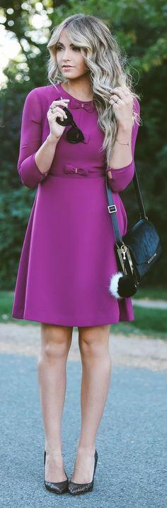 Bow Details Purple Little Dress Fall Inspo by Cara Loren