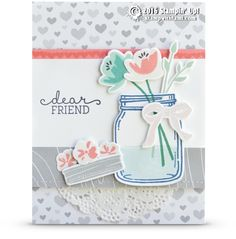 CARD: Dear Friend from the awesome Jar of Love Set | Stampin Up Demonstrator - Tami White - ——— S U P P L I E S ———  • Jar Of Love Photopolymer Stamp Set #141587 • Everyday Jars Framelits Dies #141490 • Birthday Blooms Clear-Mount Stamp Set #140658 • Flirty Flamingo Classic Stampin' Pad	141397 • Soft Sky Classic Stampin' Pad #131181 • Pool Party Classic Stampin' Pad #126982 • Dapper Denim Classic Stampin' Pad	141394 • Bermuda Bay Classic Stampin' Pad #131171 • Emerald Envy Classic Stampin'…