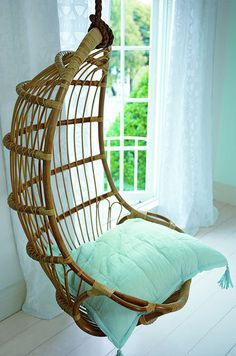 Hanging Swing chair. Someday I shall have one! It's such a lovely and special piece to add to a room.