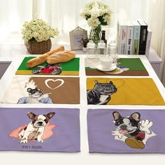 Cartoon Animal Lovely Gogo Series Printing Cotton Home Furnishing Fabric Art Western-style Food Pad Foreign Trade Tableware Pad