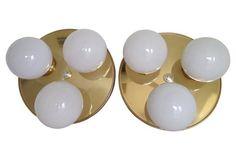 Brass Three Globe Ceiling Lights, Pair