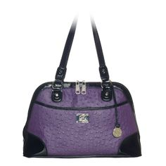 "Emma-Purple Bag Posh and polished, the Emma shoulder bag makes a statement with a stamped ostrich pattern or sleek animal print and black patent faux leather trim.  •  Faux leather •  14"" L, 9"" H, 5"" W •  Handles with 10"" drop •  Exterior pocket fits any Grace Adele Clutch"
