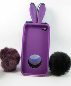 Bunny Case for iPhone 4 4S with Funny Silicone Rabbit Ear and Furry Tail-purple