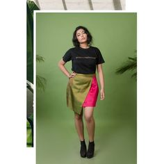 Two-toned asymmetric cotton and brocade skirt. Shop 👉 www.beuntouched.com Dark Green Skirt, Green Mini Skirt, Ethical Fashion Brands, Ethical Clothing, Colour Blocking Fashion, Brocade Dresses, Sustainable Clothing, Cotton Skirt, Mini Skirts