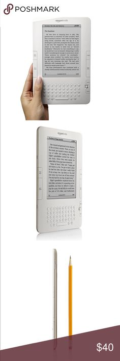 Amazon Kindle E-Reader! Needs new battery but in otherwise perfect condition!!    About this item: Slim and Lightweight: Just over 1/3 of an inch! Wireless: 3G wireless lets you download books right from your Kindle, anytime, anywhere; no monthly fees, service plans, or hunting for Wi-Fi hotspots No PC hookup required Display: Reads like real paper! No sun glare! Longer Battery Life: 25% longer battery life; read for days without recharging Model: D00701 Product Dimensions: 8 x 5.3 x 0.4…