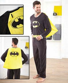 Keep your personal hero cozy with a Men's Caped Superhero Union Suit. Even crime fighters need to relax, and this fleece union suit is comfortable for lounging