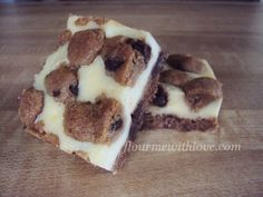 Chocolate Chip Cookie Dough Cheesecake Bars using refrigerated dough.  So simple and delicious! #FlourMeWithLove #chocolate chip #cookie #dough #cheesecake #bars