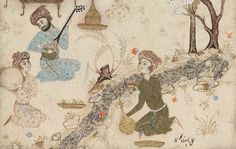 Hamza Mirza Entertained  Persian, Safavid Period, second half, 16th century  Artist Muhammadi,  Iran  DIMENSIONS  Legacy dimension: 47.9 x 32.0 cm  MEDIUM OR TECHNIQUE  Opaque watercolor and gold on paper  TYPE  Painting  Illustration representing a prince in landscape. Drawing with faint color. Signed: Ustad Muhammadi.  SIGNED  Ustad Muhammadi