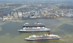 Ferries cross the Mersey for Cunard's 175th anniversary in Liverpool Three queens – Queen Mary 2, Queen Elizabeth and Queen Victoria – sail together down the river in honour of the shipping line