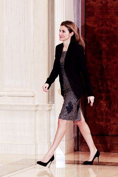 Princess Letizia attends audiences with members of the 'Spanish Federation of Rare Diseases' and with members of the 'Spanish Association of Wolf-Hirschhorn Syndrome' at Zarzuela Palace on February 10, 2014 in Madrid, Spain.
