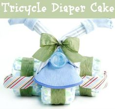Nikki's Tricycle Diaper Gift for Boys - Vroom! Send new parents on their great adventure with the amazing Nikki's Tricycle Diaper Gift for Boys . This amazing construction has three wheels. Baby Shower Diapers, Baby Shower Fun, Baby Shower Cakes, Baby Shower Gifts, Baby Showers, Unique Baby Gifts, New Baby Gifts, Gifts For Boys, Tricycle Diaper Cakes