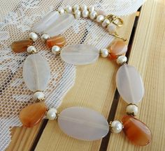 Necklace with agate carnelian and freshwater pearls от BijouMaster, $40.00