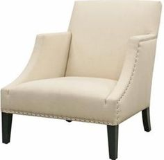Wholesale Interiors A-731-C-232 Club Chair Cream Fabric, Contemporary accent chair, Cream linen fabric upholstery, High density polyurethane foam cushioning, Kiln-dried solid wood frame, Black wooden legs with non-marking feet, Silver nail head tacks, High armrests, 16.5