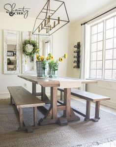 Free Furniture Plans and Tutorial to build this Pottery Barn Inspired dining room table. Farmhouse Dining Benches, Farmhouse Table With Bench, Diy Dining Table, Farmhouse Furniture, Dining Room Furniture, Modern Farmhouse, Wood Furniture, Table Bench, Dining Rooms