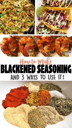 This homemade Blackened Seasoning is easy to put together, sugar-free, gluten-free, and only includes natural spices (unlike most of the store-bought ones)! Dry Rub Recipes, Easy Homemade Recipes, Homemade Spices, Homemade Seasonings, Cajun Recipes, Cooking Recipes, Healthy Recipes, Homemade Cajun Seasoning, Smoker Recipes