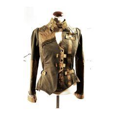 Equestrian style Jacket  Cropped Handmade Romantic Civil War Khaki Green cotton fashion Wear. €415,00, via Etsy.
