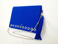 GlamFelt clutch bag with chain and key ring cobalt blue http://totostyle.pl/