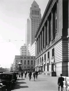 (1931)**# - Looking south on Main Street across Temple at the old Federal Building/Post Office and City Hall. Ornate 5-lamp streetlights can be seen in front of the Federal Building