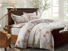 Drifting Fragrance Brown Bedding Set Teen Bedding Dorm Bedding Bedding Collection Gift Idea Brown Bedding, Teen Bedding, Modern Bedding, Pillow Shams, Pillows, Flat Sheets, Floral Style, Bedding Collections, Duvet Cover Sets