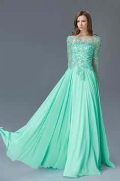 G2096 Long Sleeve Lace and Chiffon MOB Modest Prom Dress Evening Gown
