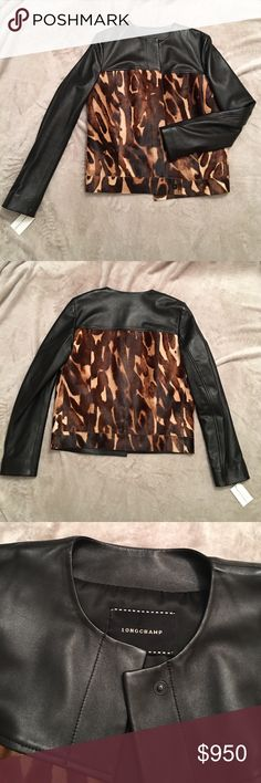 NWT Longchamp Lamb leather and Calfskin jacket NWT Beautiful Buttery soft leather jacket with calf hair trim. Brand new with tags. Authentic. Original price $2,270. Longchamp Jackets & Coats
