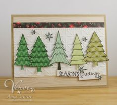 Handmade Christmas card by Anya Schrier using Holiday Greetings from Verve.  #vervestamps