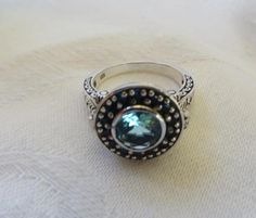 Vintage Aquamarine Poison Ring Sterling Silver Filigree.