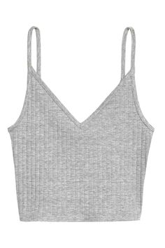 Jersey crop top: Cropped top in ribbed jersey with a V-neck and narrow shoulder straps. Jersey crop top: Cropped top in ribbed jersey with a V-neck and narrow shoulder straps. White Camisole Top, White Cami Tops, White Crop Top Tank, Cute Crop Tops, White Shirts, Black Crop Tops, Cropped White Shirt, Crop Shirt, Cropped Tank Top