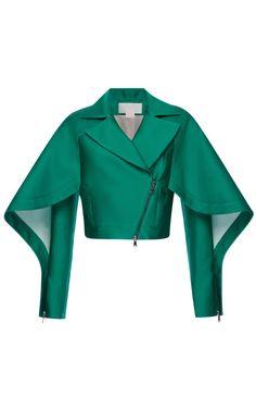 Emerald Silk Scuba Short Jacket by Antonio Berardi for Preorder on Moda Operandi