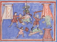 """11th Century - """"The martyrdom of St Boniface"""" MS 1275, fol. 17 , now in Lucca. Biblioteka Statale."""